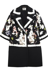 Erdem Jaidee Printed Stretch Crepe Coat Black