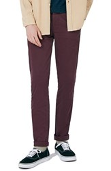 Topman Men's Stretch Skinny Fit Chinos Wine