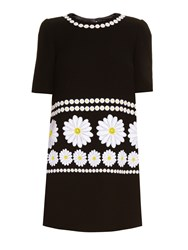 Dolce And Gabbana Daisy Applique Wool Crepe Long Sleeved Mini Dress