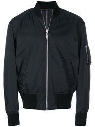 Versus Pinstripe Bomber Jacket Polyester Cotton Black