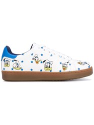 Moa Master Of Arts Donald Duck Print Sneakers Women Leather Rubber 38 White