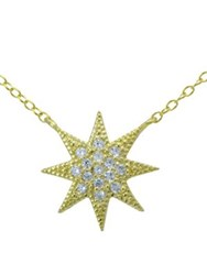 Lord And Taylor Cubic Zirconia Sterling Silver Goldtone Starburst Pendant Necklace
