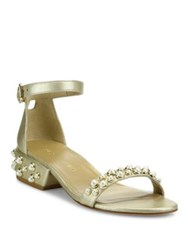 Stuart Weitzman All Pearls Studded Metallic Leather Ankle Strap Sandals Gold