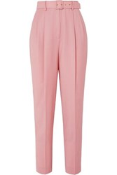 Emilia Wickstead The Woolmark Company Gus Belted Pleated Merino Wool Straight Leg Pants Pink