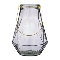 Bloomingville Glass Lantern With Gold Handle 16.5 27.5X37cm