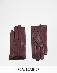 Asos Leather Gloves With Touch Screen Detail Burgundy