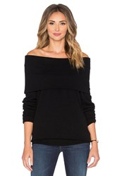 Autumn Cashmere Slouchy Off Shoulder Sweater Black