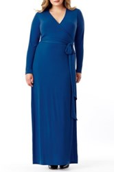 Mynt 1792 Maxi Wrap Dress Plus Size Blue