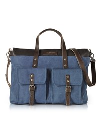 The Bridge Briefcases Carver D Canvas And Leather Tote Bag