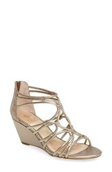 Isola Women's Floral Strappy Wedge Sandal Satin Gold Leather