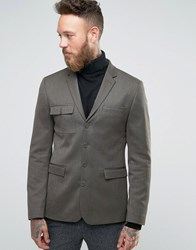 Asos Skinny Blazer With Military Styling In Khaki Green