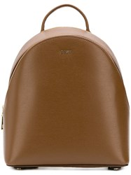 Dkny Leather Backpack Brown