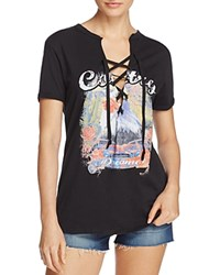 Vintage Havana Eagle Print Lace Up Tee Black