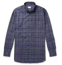 Brioni Button Down Collar Checked Linen Shirt Navy