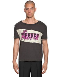 Maison Martin Margiela Printed Raw Cut Cotton Jersey T Shirt Black