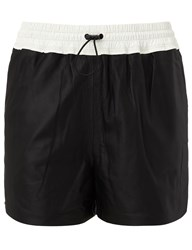Alexander Wang Black Leather Track Shorts
