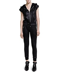 The Kooples Faux Leather Jumpsuit Black