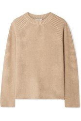 Vince Shaker Ribbed Cashmere Sweater Beige