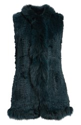Love Token Genuine Rabbit Fur Vest With Genuine Fox Fur Trim Emerald