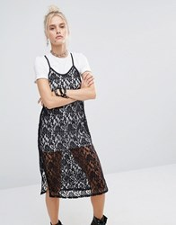 The Ragged Priest Lace Cami Over T Shirt Dress Multi