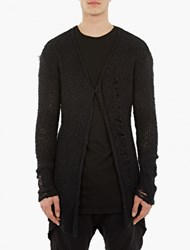 Thom Krom Black Distressed Knitted Cardigan