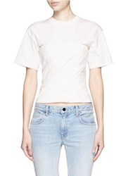 Alexander Wang Ruched Jersey Bustier T Shirt White