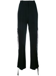 Givenchy Silk Panel Tie Relaxed Trousers Black