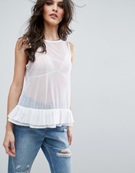 Asos Top In Mesh With Corset Back And Organza Ties White