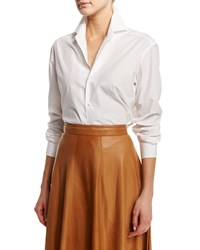 Ralph Lauren Collection Luxe Broadcloth Classic Button Down Blouse White Girl's Size 10 10 White