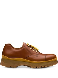Prada Leather Laced Derby Shoes Brown