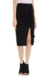 Vince Camuto Front Ruffle Ponte Pencil Skirt Rich Black