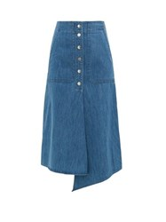 Tibi Asymmetric Hem Buttoned Denim Skirt Denim