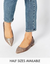 Asos Lost Pointed Ballet Flats Snake Brown