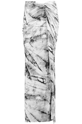 Helmut Lang Wrap Effect Printed Stretch Jersey Maxi Skirt Gray