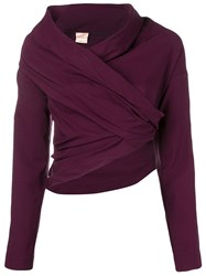 Erika Cavallini Cropped Cowl Neck Blouse Red