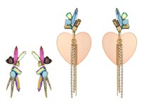 Betsey Johnson Non Matching Heart And Stone Earrings Multicolored Earring