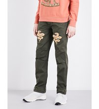 Mhi Snake Embroidered Relaxed Fit Cotton Trousers Dark Olive