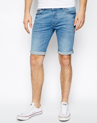 River Island Denim Shorts In Light Wash