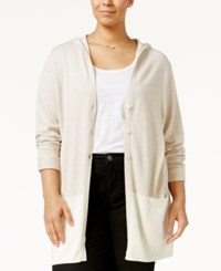 Styleandco. Style Co. Plus Size Colorblocked Hooded Cardigan Only At Macy's Natural Heather Combo