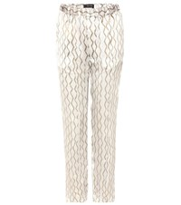 Isabel Marant Sonia Printed Silk Trousers White