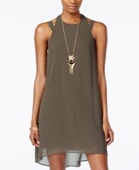 City Triangles City Studios Juniors' High Low Halter Shift Dress With Necklace Dark Green