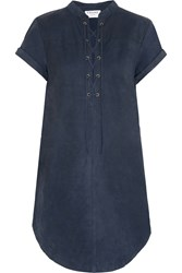 Frame Denim Le Lace Up Suede Mini Dress Navy