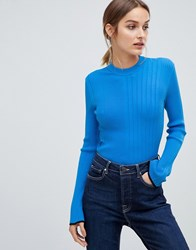 Hugo Ribbed Knitted Top Open Blue