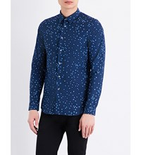 Paul Smith Ps By Slim Fit Graphic Print Cotton Shirt Navy