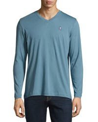 Psycho Bunny Classic Cotton Long Sleeve Tee Blue
