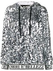 Dolce And Gabbana Logo Trim Sequin Hoodie Silver