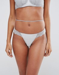 Asos Alice Lace French Thong Grey