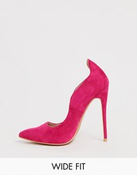 4d3441036 Lost Ink Wide Fit Abi Curved Topline Pointed Court Heeled Shoe In Fuschia  Pink