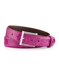 W.Kleinberg Glazed Alligator Belt With 'The Chair' Buckle Magenta Made To Order Pink