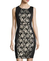 Jax Boat Neck Sleeveless Sheath Dress Black Gold